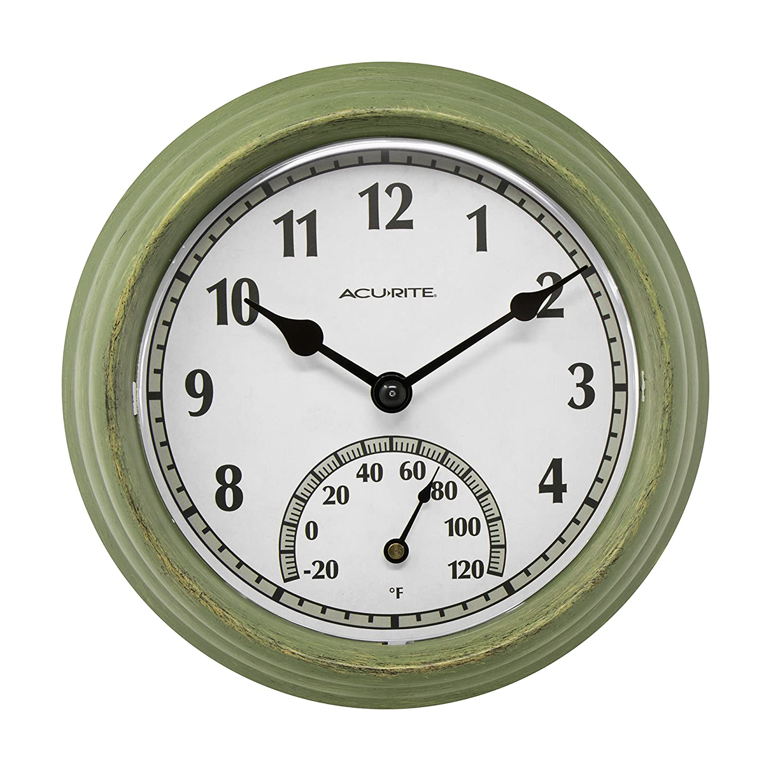 AcuRite 02470 Rustic Green Outdoor Clock with Thermometer, 8.5 8.5 Chaney Instruments