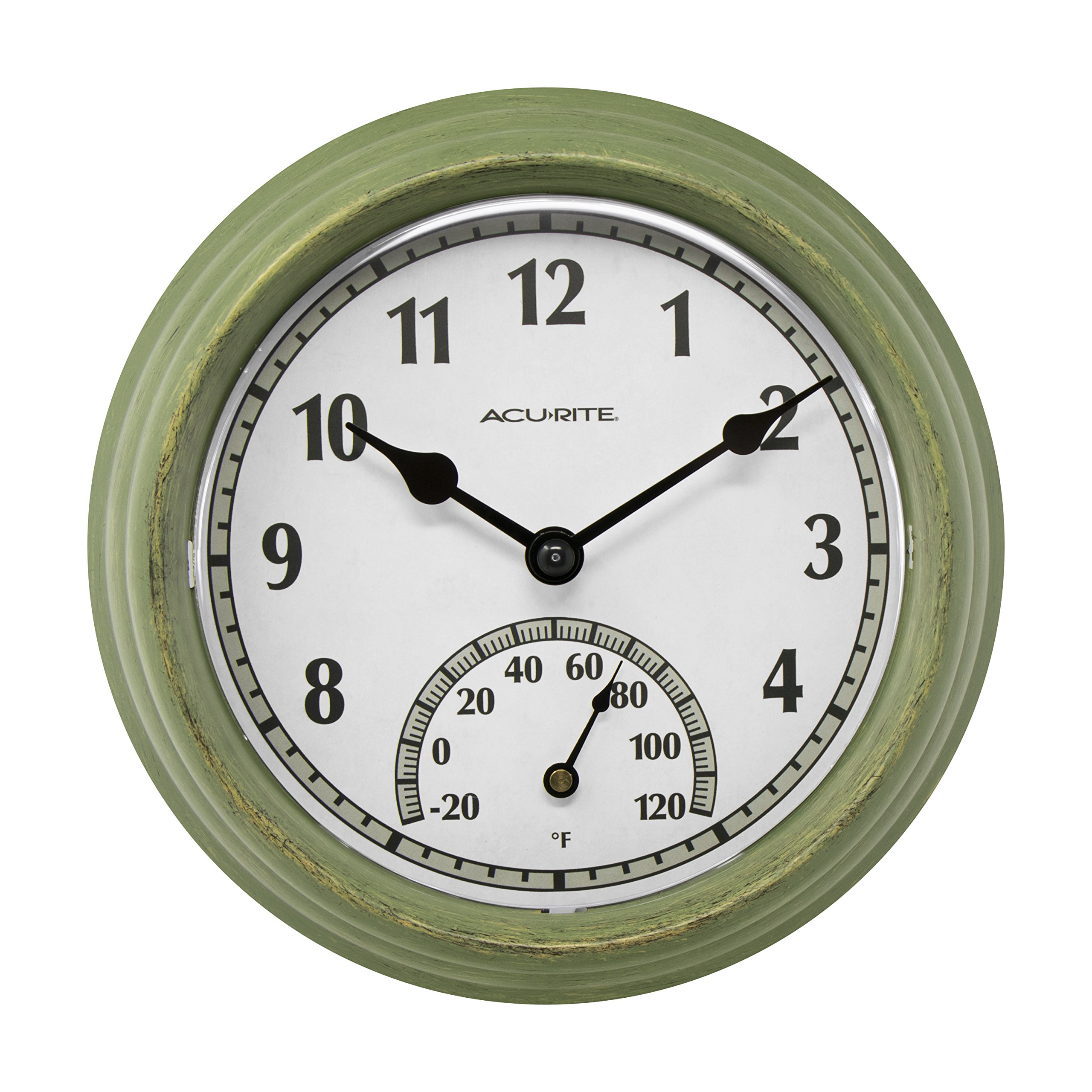 AcuRite 02470 Rustic Green Outdoor Clock with Thermometer, 8.5''