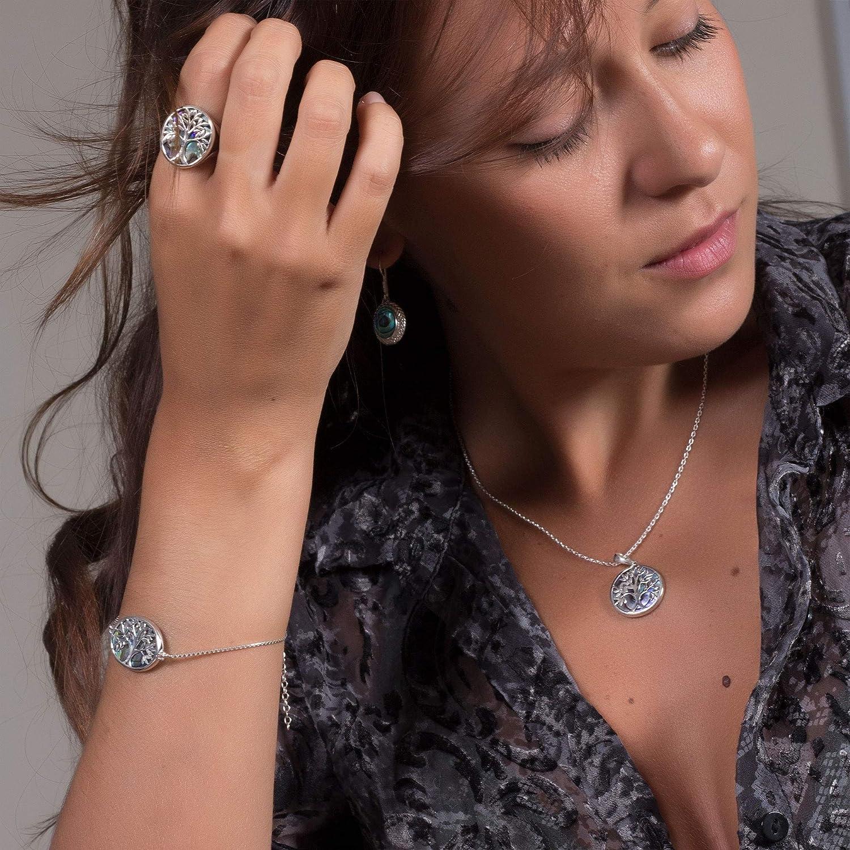 Adens Jewels Pendentif Femme Symbole Arbre de Vie Nacre Abalone Argent Massif rhodi/é