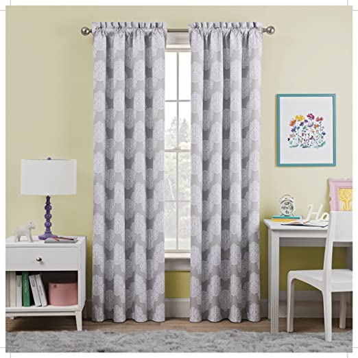 WAVERLY Kids Airwaves Single Window Curtain Panel Grey 42 x 63