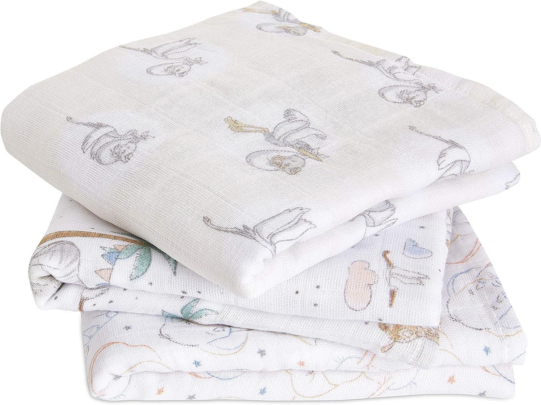 aden + anais Musy Squares - Pack de 3 Muselina de algodón 100% Disney Baby - My Darling Dumbo (70 x 70 cm)