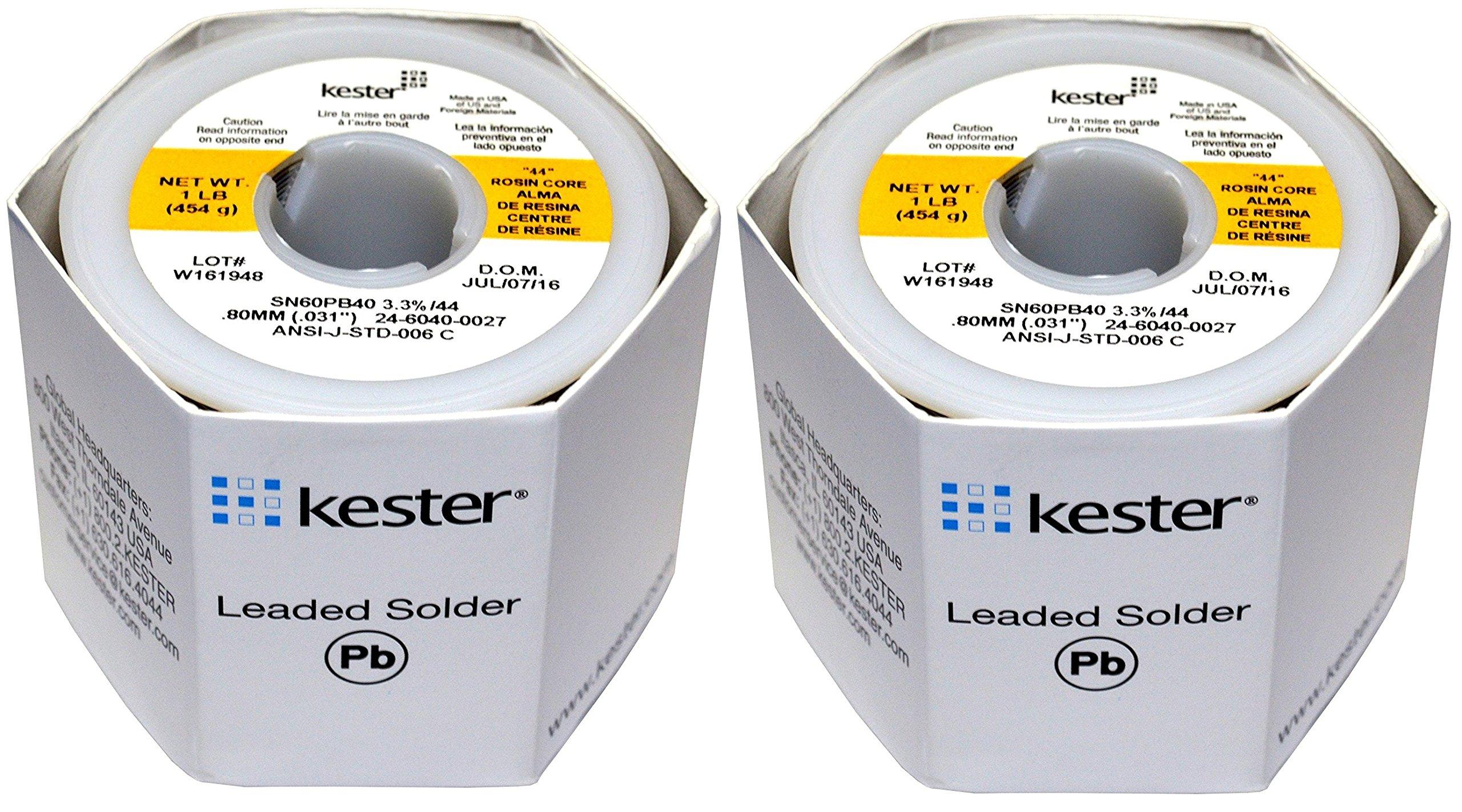 KESTER SOLDER 32117 24-6040-0027 60/40 Stand, 0.031'' Diameter, 44'', 1.5'' (Pack of 2)
