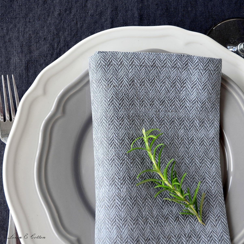 Nero//Beige 47 x 47cm 100/% Lino Linen /& Cotton Set Di 4 Tovaglioli di Lusso da Tavola Elegante HONEYCOMB