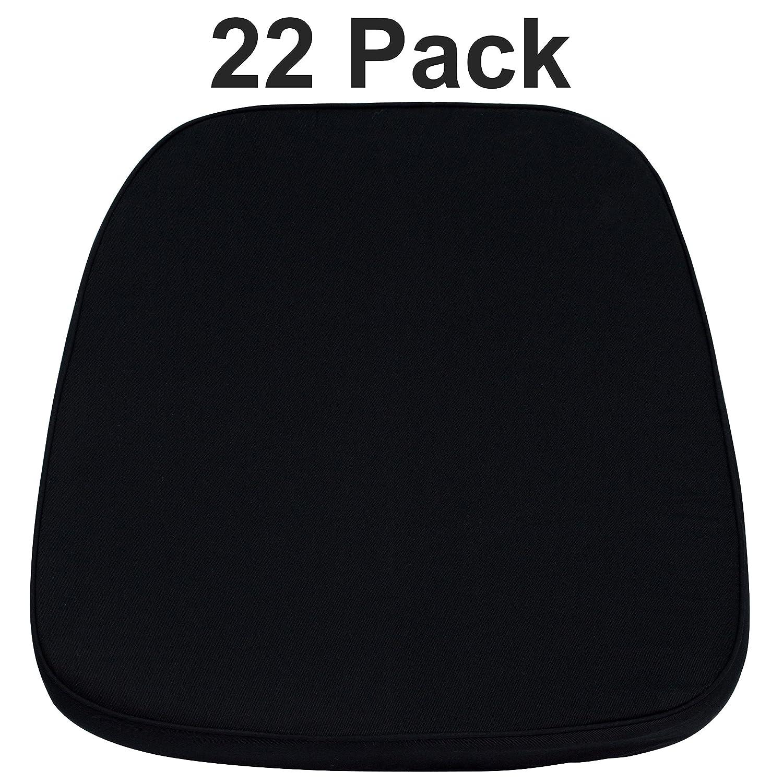 Flash Furniture 22 Pk. Soft Black Fabric Chiavari Chair Cushion 22-LE-L-C-BLACK-GG