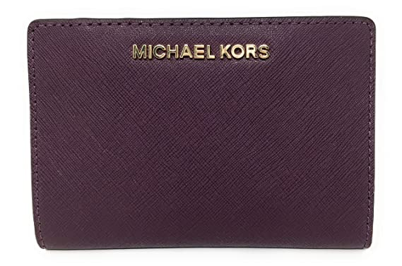 db17461a4904 Michael Kors Jet Set Travel Leather Medium Card Case Carryall with  Removable Card Holder (Damson