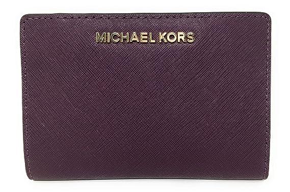 c2c036a2de7057 Michael Kors Jet Set Travel Leather Medium Card Case Carryall with  Removable Card Holder (Damson