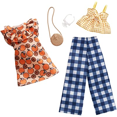 Barbie Clothes: 2 Outfits Doll Include A Dress, Top and Pants with Checked Prints, Gift for 3 to 8 Year Olds: Toys & Games