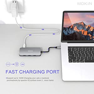 USB C Hub,USB C Adapter for MacBook Pro 2019 2018 2017,USB C to HDMI VGA SD TF Card Reader 3USB 3.0 and USB C Power Pass-Through Port (Color: USB C To 3USB HDMI VGA SD TF PD)