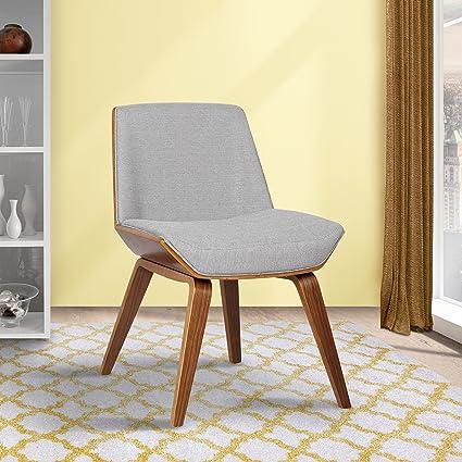 Armen Living LCAGSIWAGRAY Agi Dining Chair In Grey Fabric And Walnut Wood  Finish