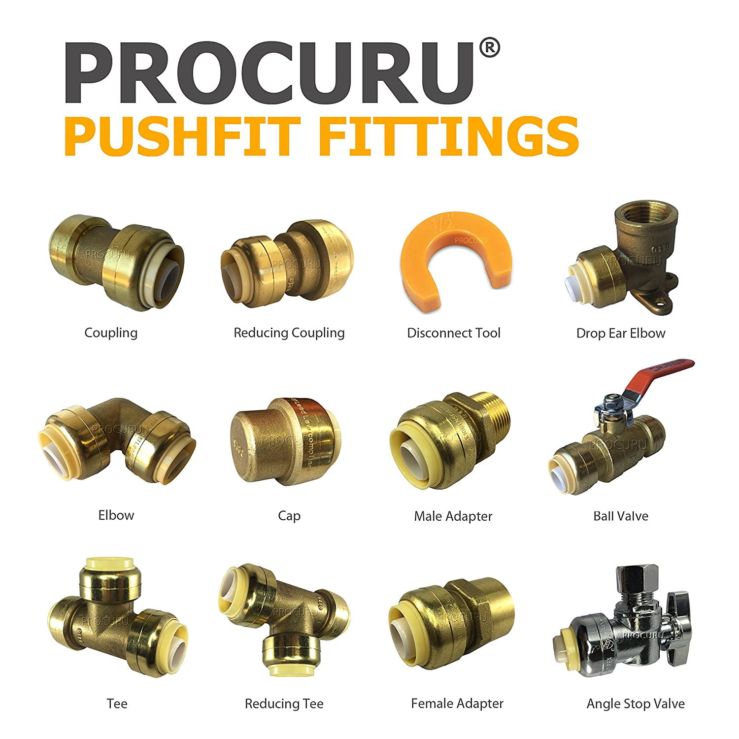 PEX PROCURU 1//2-Inch PushFit Combo Kit 1//2 PLUS 1//2 Disconnect Clip | Plumbing Fitting for Copper 1//2 CPVC Pipe 1 pc 10 pcs 0.5 Inch 0.5 Inch Lead Free Certified 1//2 PushFit Couplings Lead Free Certified