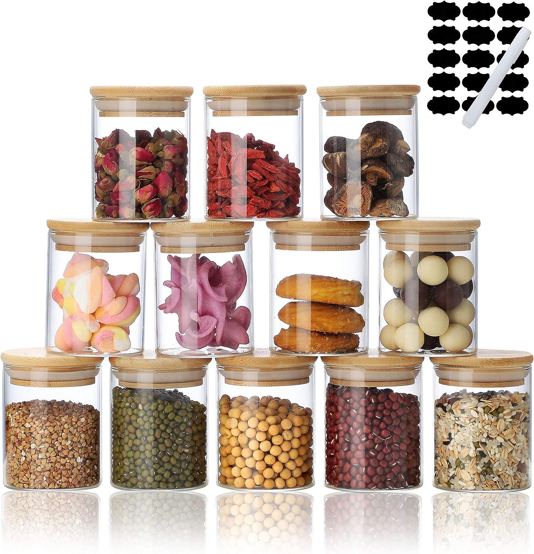 Glass Jar Set with Bamboo Lids 8oz 12 , Glass Sealed Food Storage Container, Glass Airtight Food Storage Containerswith Lids,Food Storage Containers for Home Kitchen, Tea, Sugar, Salt, Coffee, Flour, Herbs, Grains JOJO's store