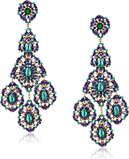 product image for Miguel Ases Green Onyx 14k Gold Filled Triple Drop Earrings