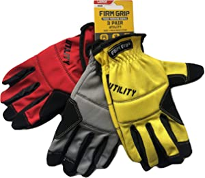 Tough Working Gloves, 3 Pair Utility, Red, Gray, Yellow