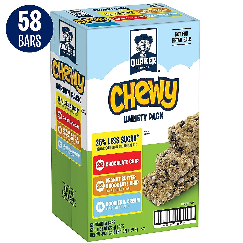 Quaker Chewy Granola Bars, 25% Less Sugar, Variety Pack, 58 Bars