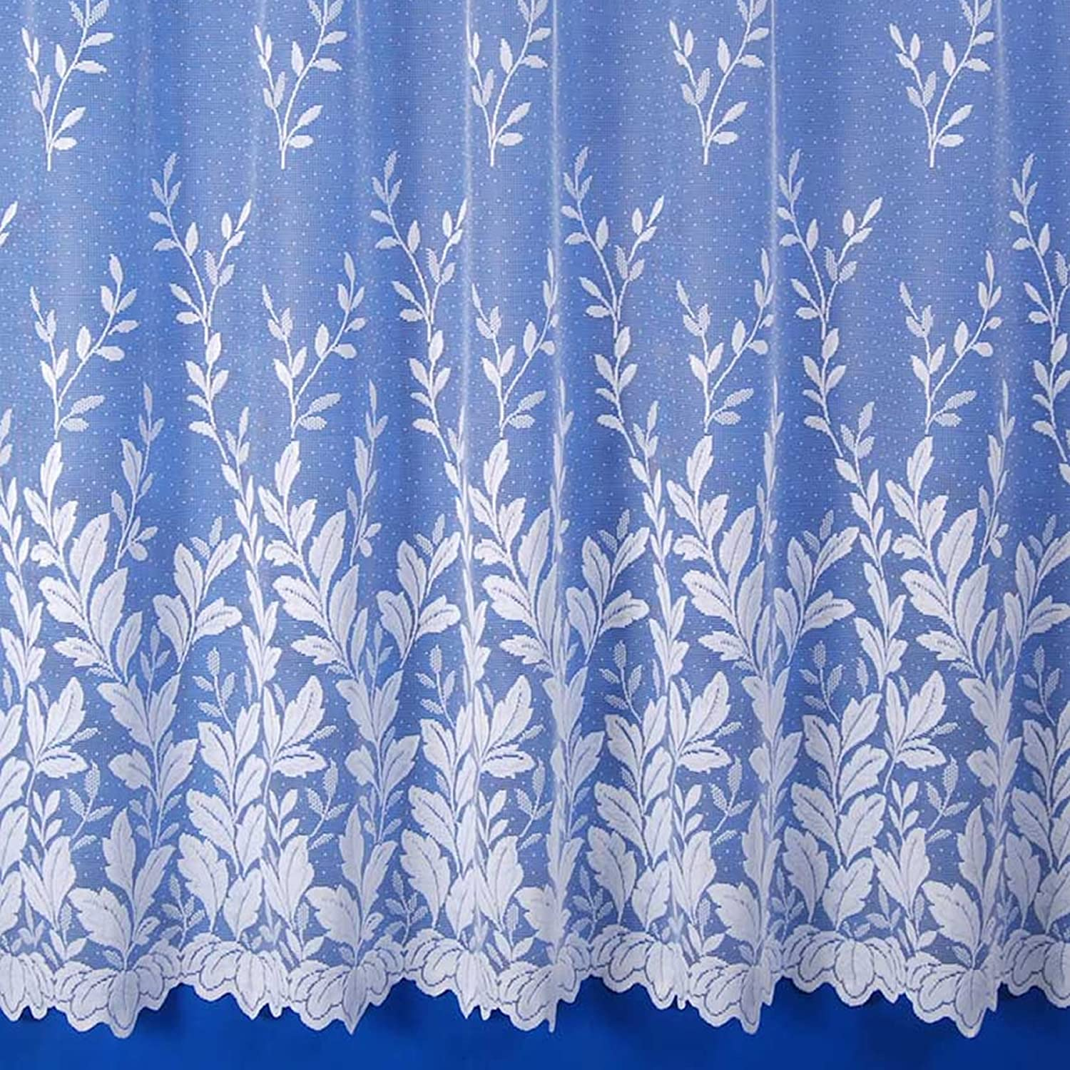 """Autumn Leaves Scalloped Jacquard Floral Net Curtain in White - Sold by the Metre - 45"""" Drop White 45"""""""