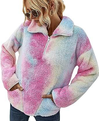 C2M Women's Tie Dye Fuzzy Coat Casual Fleece Jacket Zip Up Shaggy Outwear