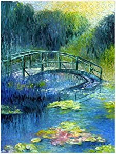 Americanflat Flower Puzzle 500 Pieces, 18x24 Inches, Water Lilies & Bridge Art by Richard Wallich