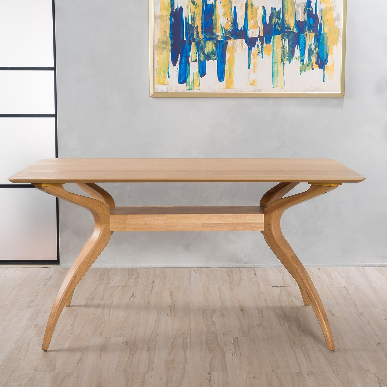 Amazon com seraphim natural oak finish wood dining table tables