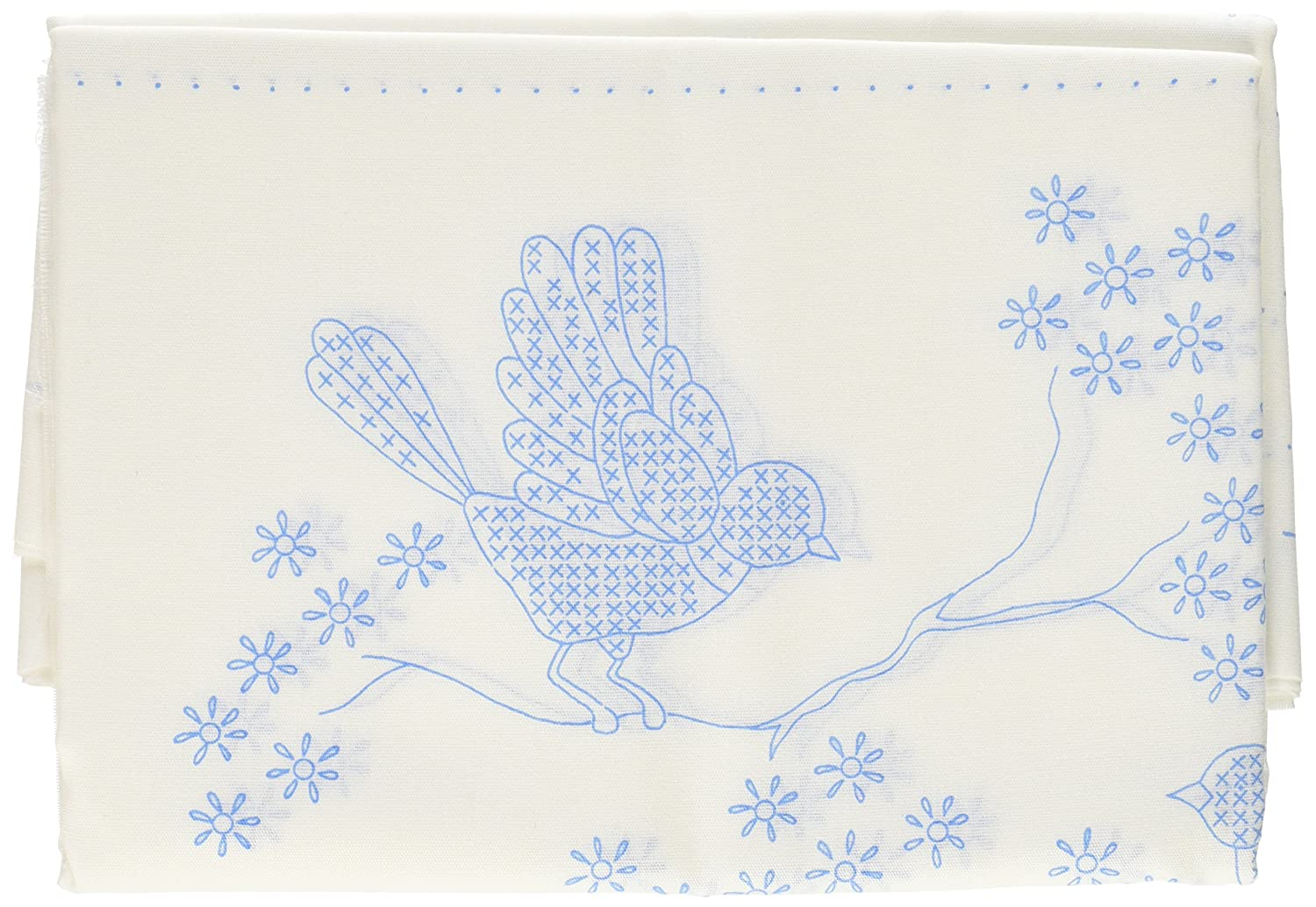 18 by 18-Inch 6 Per Package Blue Birds Tobin T288044 Stamped Quilt Blocks Cross Stitch Kit White