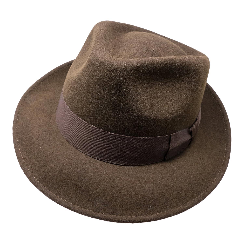 cad546c849d3f Unisex Crushable For Travel Water Resistant Teardrop Fedora Hat Borges    Scott B S Premium Doyle 100% Wool Felt