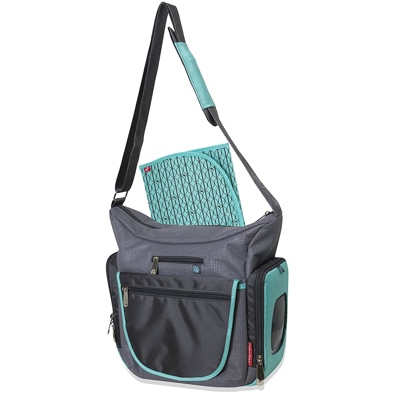 Fisher Price Fastfinder Quick Trip Tote Diaper Bag - Teal/Grey AD Sutton & Sons 91968
