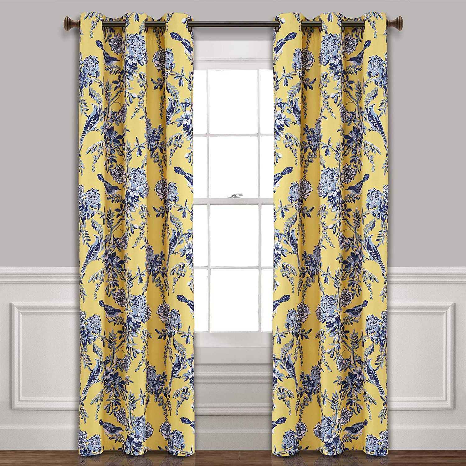 """Lush Decor, Yellow and Blue Farmhouse Bird and Flower Insulated Grommet Blackout Window Curtain Panel Pair, 84"""" x 38"""""""
