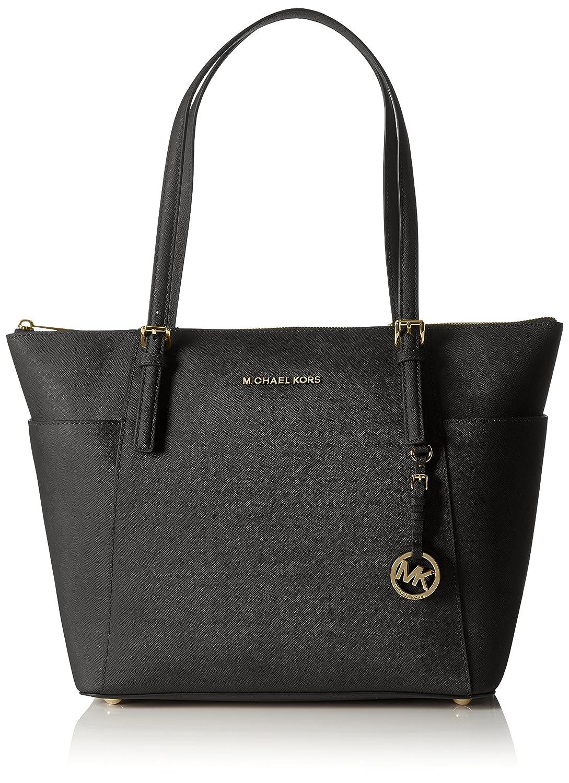 c460902dec1 Michael Kors Women Jet Set Large Top-zip Saffiano Leather Tote Shoulder Bag,  Black (Black), 12.7x29.8x31.8 cm (W x H x L)  Handbags  Amazon.com