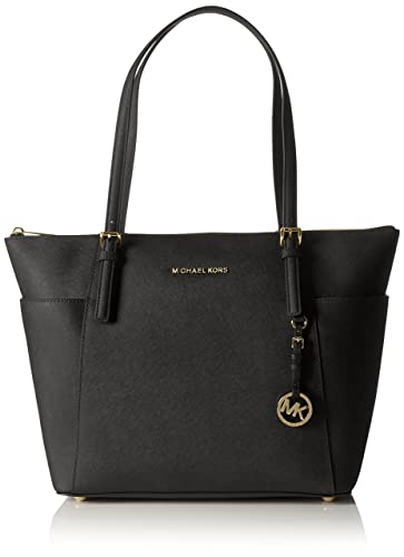 ef6007cecaa922 Michael Kors Women Jet Set Large Top-zip Saffiano Leather Tote Shoulder Bag,  Black