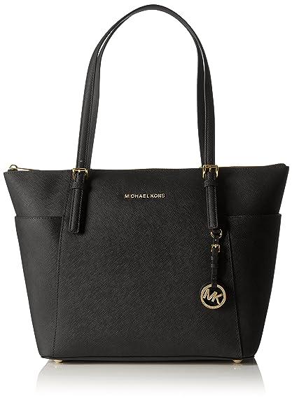 3d97ecdb2aa9 Amazon.com: Michael Kors Women Jet Set Large Top-zip Saffiano Leather Tote  Shoulder Bag, Black (Black), 12.7x29.8x31.8 cm (W x H x L): Michael Kors:  Shoes