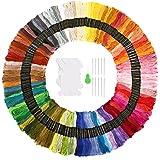 Punto Croce Kit SOLEDI 150 Colori Filo da Ricamo con 12 bobine di filo,10 aghi da ricamo, 1 infila aghi Usato per Ricamo - Punto Croce - Amicizia Braccialetti - Mestieri (50/100/150 Colori)