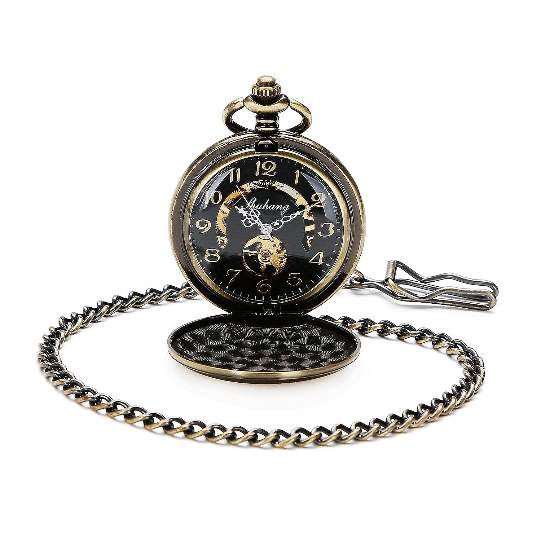 クラシックスチームパンク機械スケルトンブロンズメンズレディースワインドアップポケット時計チェーン付きフルハンターアラビア数字ダイヤル B01GCLB54A