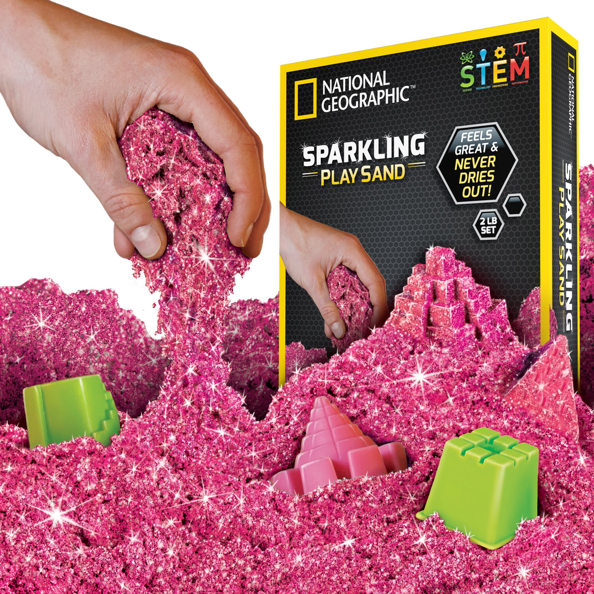 NATIONAL GEOGRAPHIC Sparkling Play Sand - 2 LBS of Shimmering Sand with Castle Molds and Tray (Pink) - A Kinetic Sensory Activity by NATIONAL GEOGRAPHIC