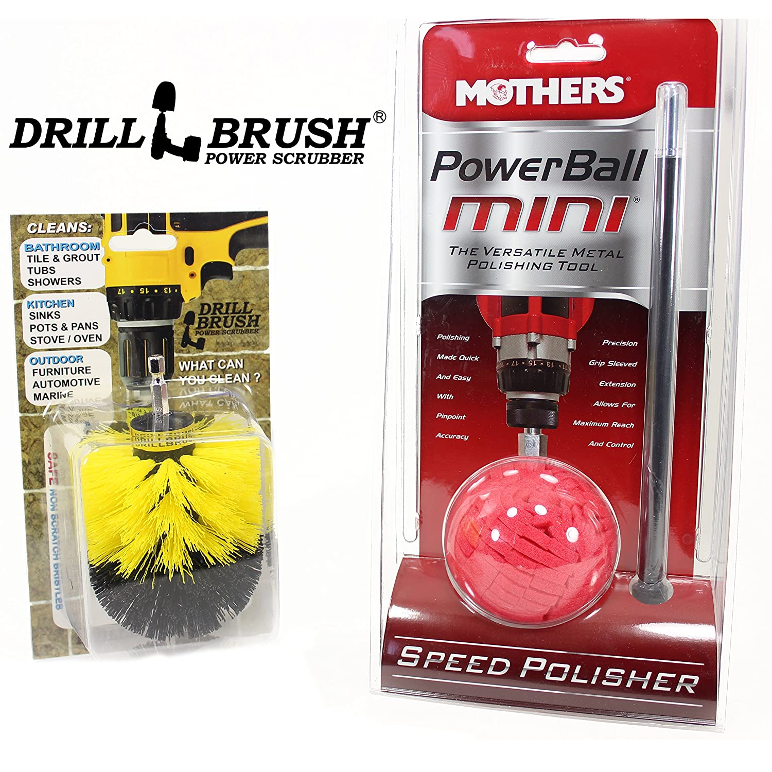 Mothers Powerball and Tire Brush Kit Mothers® and Drillbrush Power Scrubber® MOTH-MIN-DB-BLK
