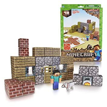 minecraft paper craft shelter pack amazon co uk toys games