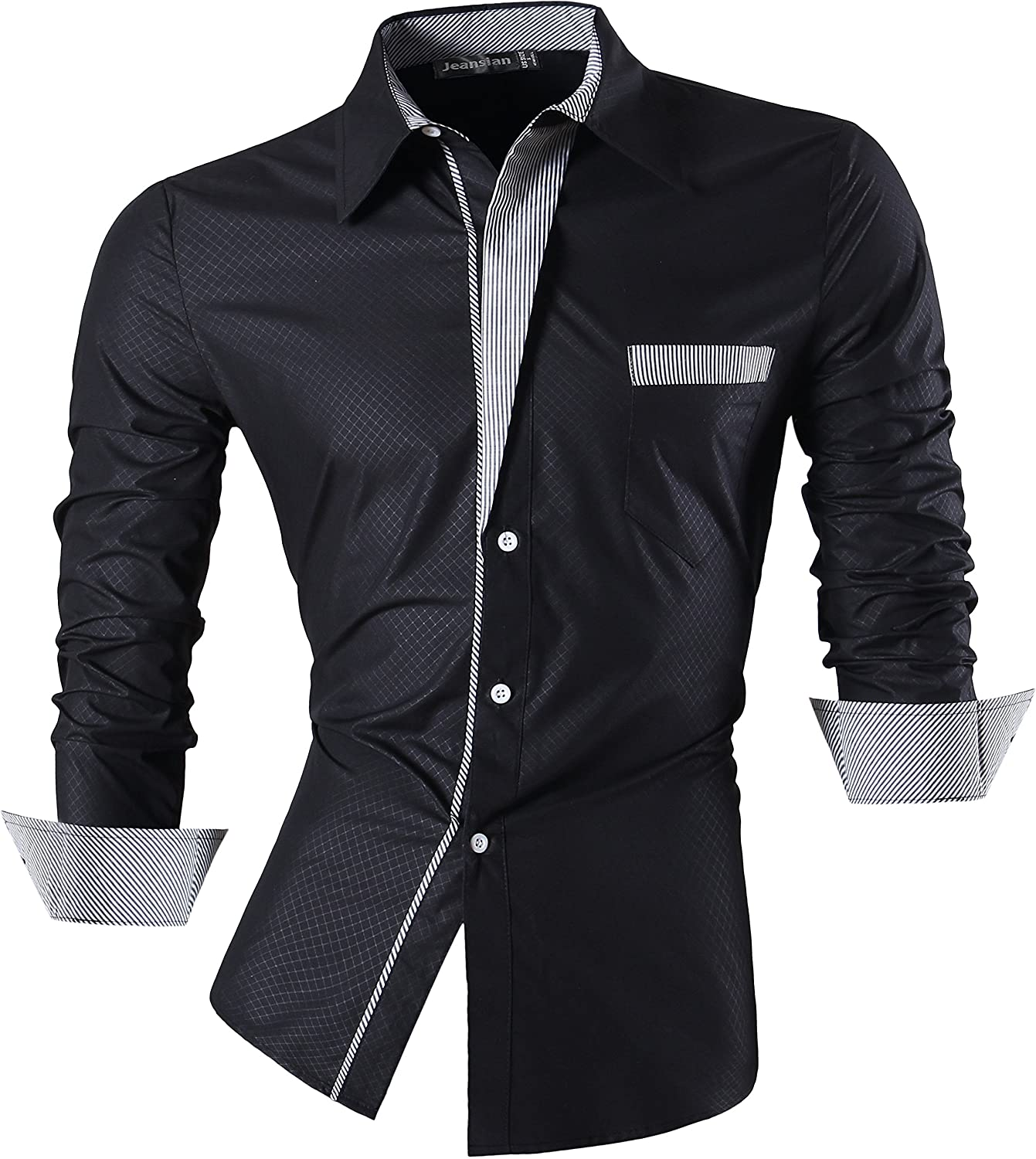 jeansian Men's Slim Fit Long Sleeves Casual Fashion Shirts 2028
