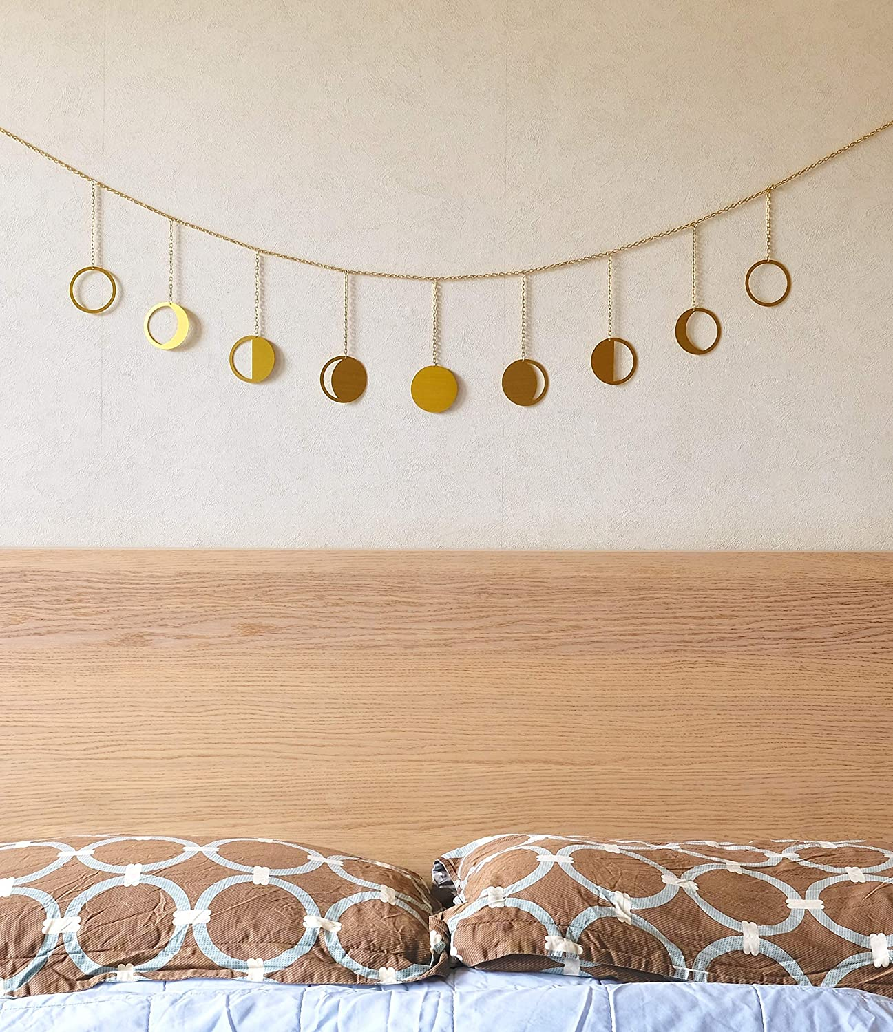 FURNISHOP Boho Moon Decor Wall Decorations - Moon Phase Wall Hanging Decor - Moon Phases Wall Art - Brushed Gold Moon Garland - Metal Moon Cycle Banner - Boho Wall Decor for Bedroom, Dorm, Living Room