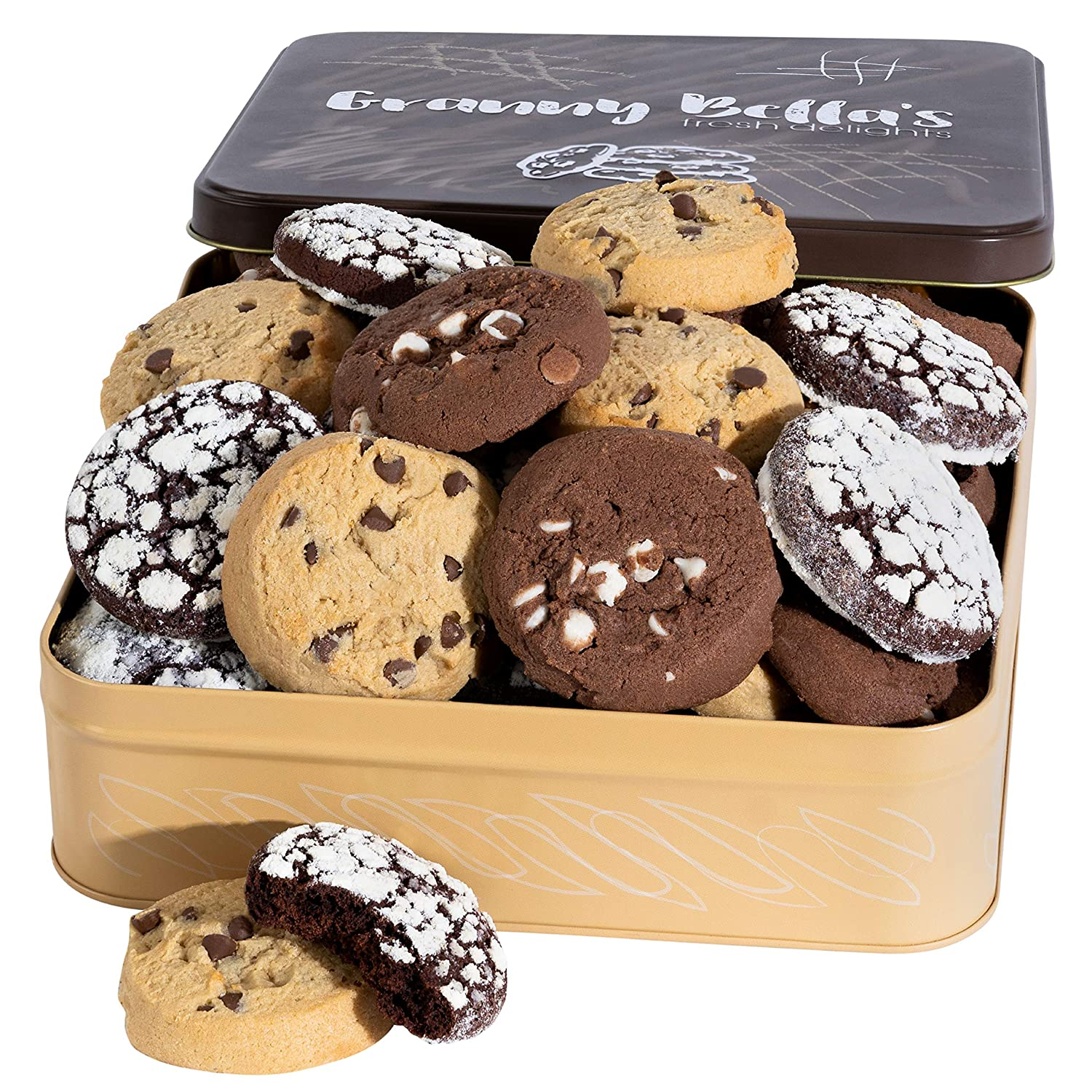 Granny Bella Soft Chocolate Chip Cookie Gift Basket for Women, 27 Homemade Fresh Bakery Cookies for Mom & Grandma from Daughter & Son Gourmet Food Gifts, Holiday & Birthday Tin Fathers & Mothers Day