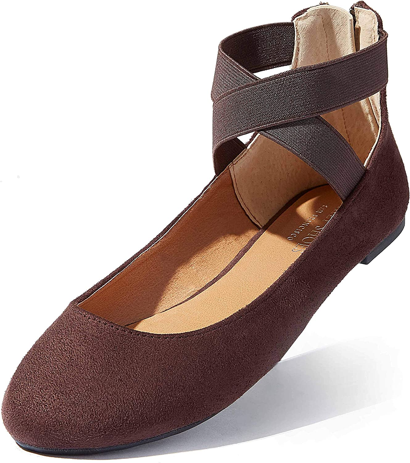 Details about  /Women Ballet Ballerina Shoes Ankle Strap Slip On Flat Casual Comfy Sandals Size