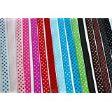 Femitu Polka Dot Grosgrain Ribbon-16 Colors of 3/8""