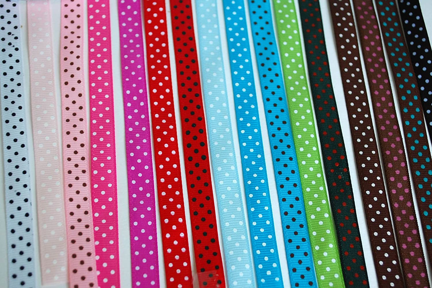 Polka Dot Grosgrain Ribbon-16 Colors of 3/8