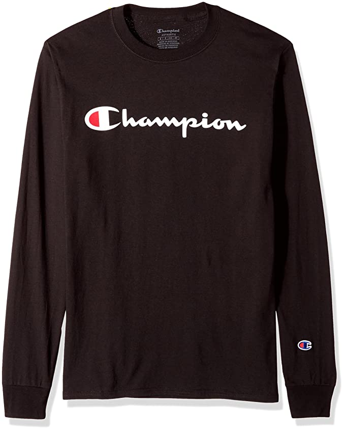 Champion Men's Classic Jersey Long Sleeve Script T-Shirt, Black, Large