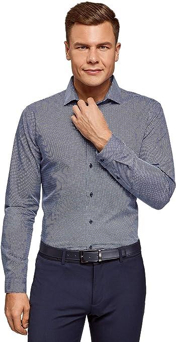 oodji Ultra Hombre Camisa Entallada con Estampado Gráfico Pequeño, Azul, 38: Amazon.es: Ropa y accesorios