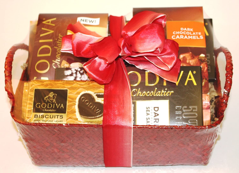 Amazon.com : Wine.com Godiva Dark Chocolate Gift Basket : Gourmet ...