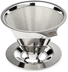 Cafellissimo Paperless Pour Over Coffee Maker, 18\8 (304) Stainless Steel Reusable Drip Cone Coffee Filter, Single Cup Coffee Brewer