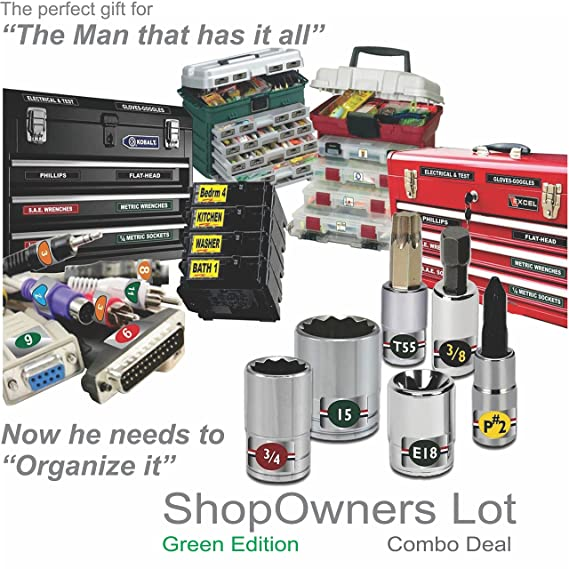 Breaker Panel organize your Tools The ultimate organizer deal SHOP OWNERS LOT Electronics and Personal items Green Edition 1179 organizer labels for the entire shop Tool Boxes