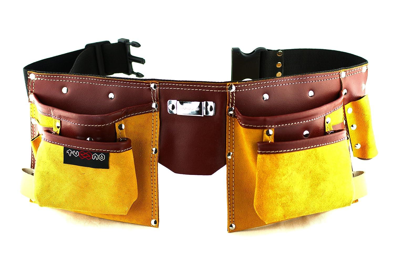 Werkzeuggürtel aus Leder mit 11 Taschen zum Tragen von Werkzeugen ...
