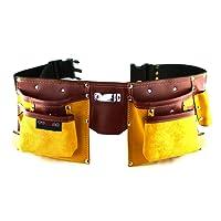 Ceinture porte outils en cuir de qualité avec 11 poches, ceinture ajustable en nylon, cadeau pour fête des pères pour bricoleur(se), charpentier, menuisier