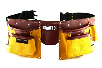 colore attraente nuovo stile acquista autentico TUCANO Tools Cintura porta attrezzi porta utensili in pelle di alta qualità  con 11 tasche, chiusura regolabile in nylon, per bricolage e fai da te, ...