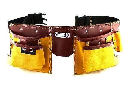 Cinturón porta herramientas de cuero de calidad con 11 bolsillos ... 0162e63c0f03