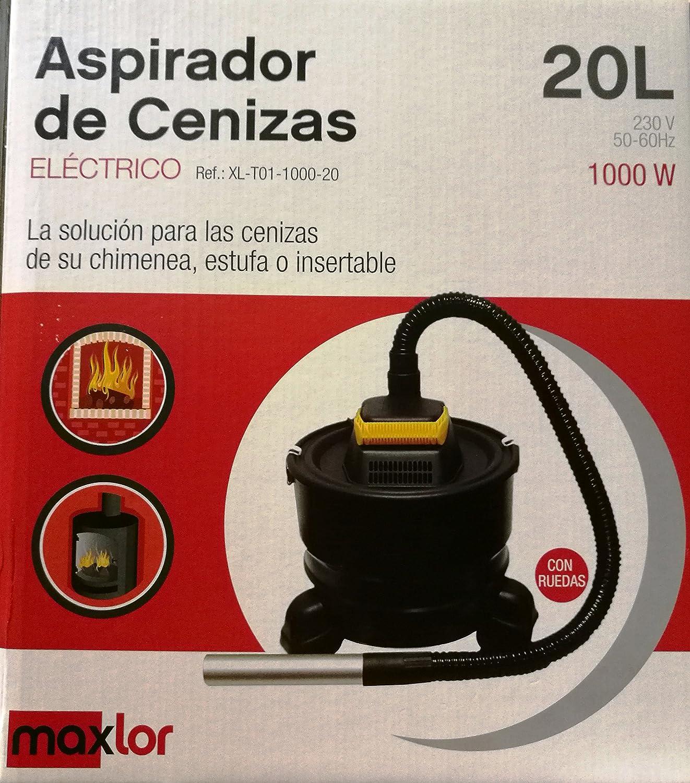 Aspirador de cenizas Maxlor con ruedas, 20 litros, 1000W: Amazon.es: Bricolaje y herramientas